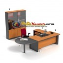 High Point Classe - Set Meja Dark Cherry Workstation-1